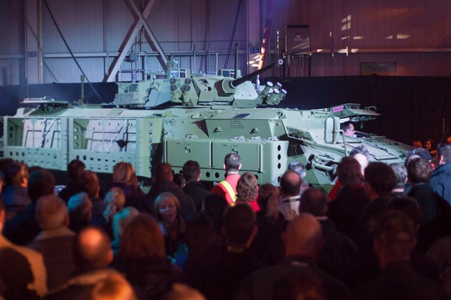 An upgraded Light Armoured Vehicle is unveiled at a news conference at a General Dynamics facility in London, Ont., on January 24, 2012.