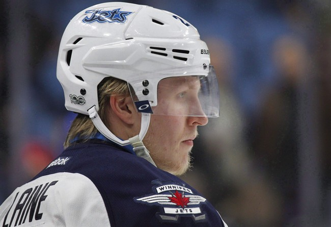 Winnipeg Jets forward Patrik Laine warms up for an NHL hockey game against the Buffalo Sabres on Jan 7, 2017.