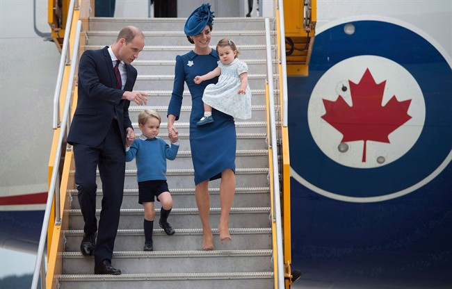 The Duke and Duchess of Cambridge and their children Prince George and Princess Charlotte arrive in Victoria, B.C., on Saturday, September 24, 2016. The RCMP says it spent about $2 million on policing costs during last year's eight-day visit to British Columbia and Yukon by the Duke and Duchess of Cambridge and their two young children.