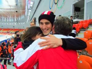 Denny Morrison hugging his Parents Carol and Denny after winning Silver at Sochi