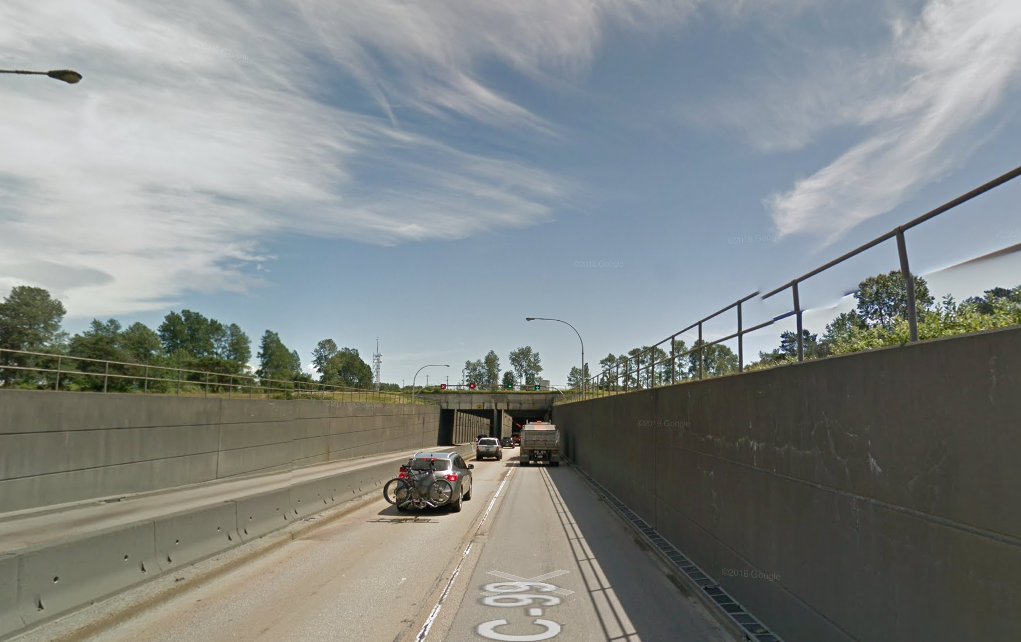 The entrance to the George Massey Tunnel.