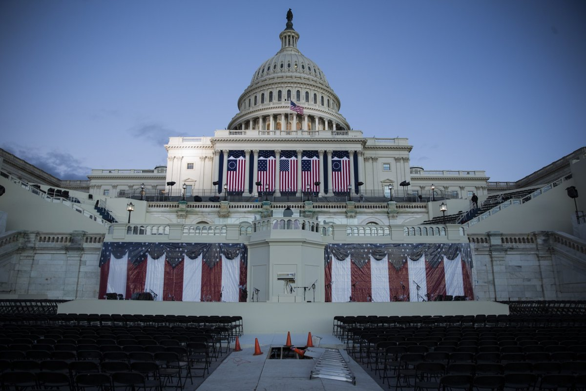 The ceremonial construction and preparations on the West Front of the U.S. Capitol near completion just days before the 58th Inauguration Ceremony where President-elect Donald Trump will be sworn into office in Washington, USA on January 18, 2017.