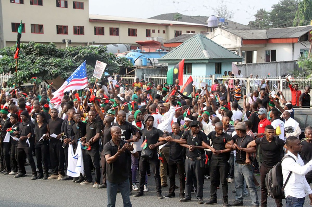 Supporters of the Indigenous People of Biafra (IPOB) march in Port Harcourt on January 20, 2017 in support of the US president-elect.