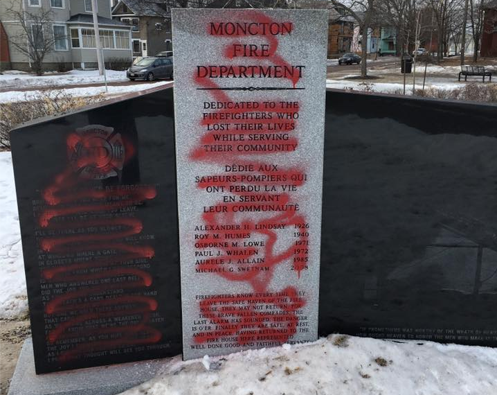 The International Association of Fire Fighters memorial is pictured on Sunday, Jan. 29, 2017 after it had been vandalized. The Moncton Police Force memorial was also vandalized.