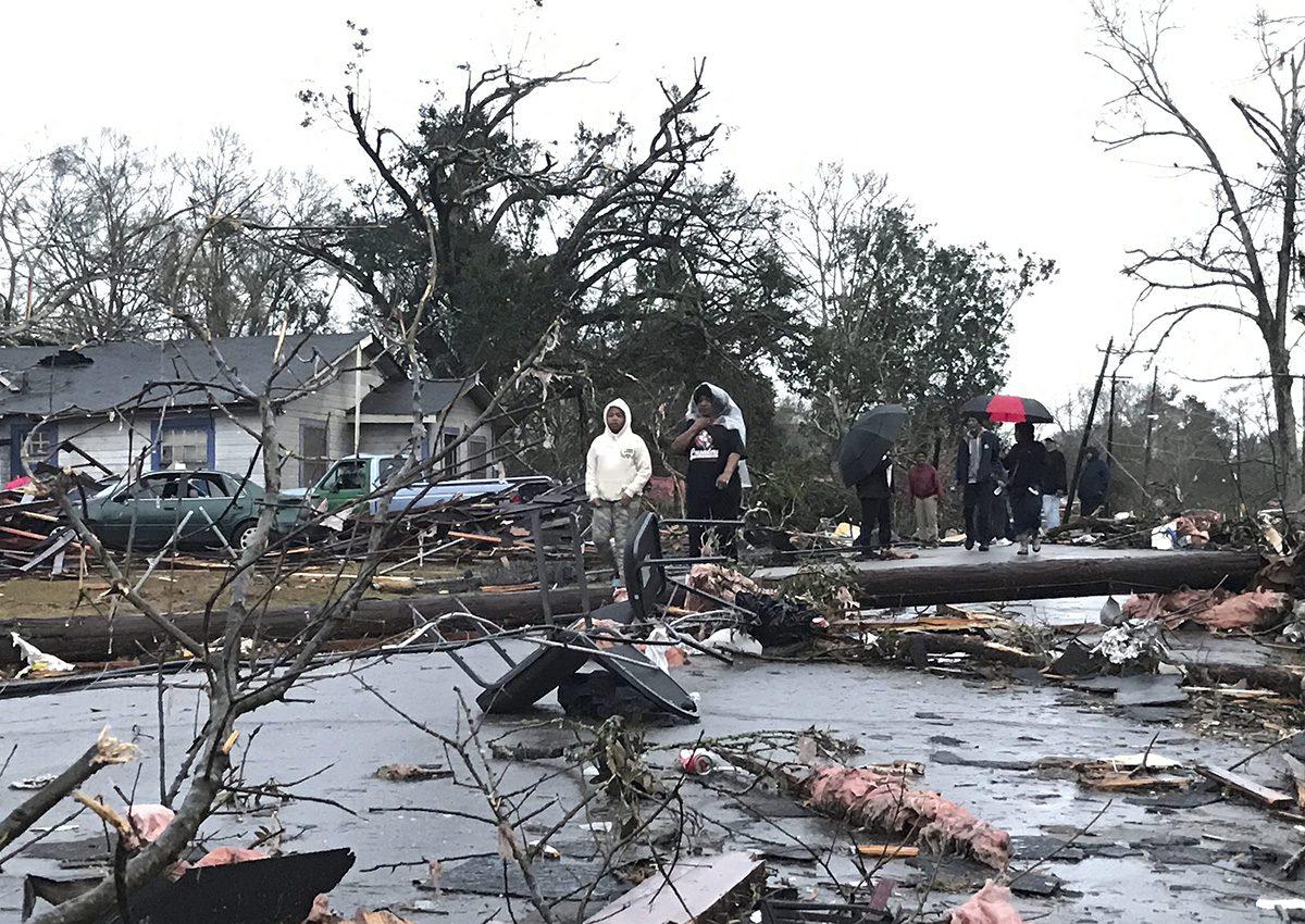Trees and debris cover the ground after a tornado tornado ripped through the Hattiesburg, Miss.,  area early Saturday, Jan. 21, 2017.