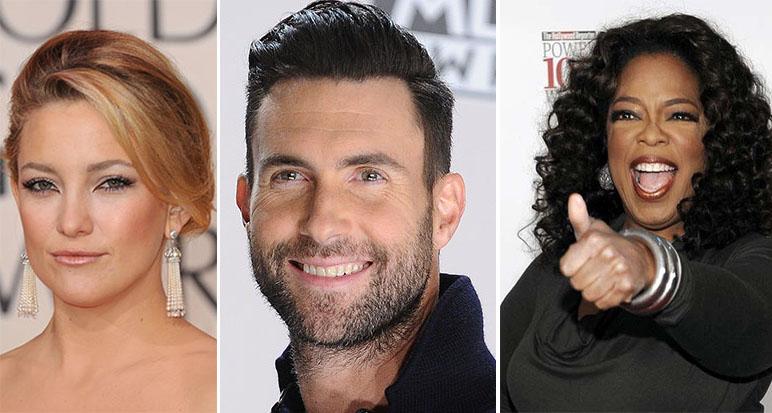 (L-R) Kate Hudson, Adam Levine, Oprah Winfrey.