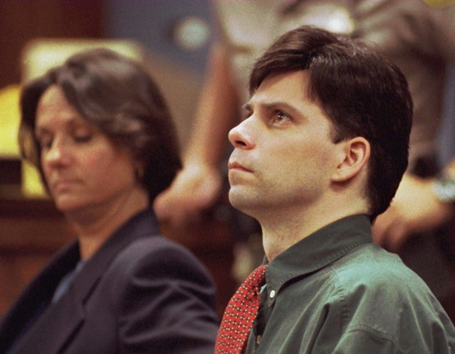 In this Oct. 20, 1995, file photo, Lyle Menendez looks up during testimony in his and brother Erik's retrial for the shotgun slayings of their parents in Los Angeles, Calif.
