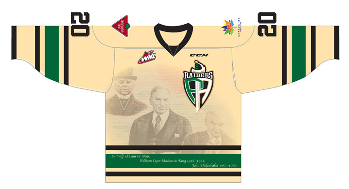 As part of the Canada 150 celebration, the Prince Albert Raiders will wear jerseys with the likeness of the three prime ministers who represented the constituency in Parliament.