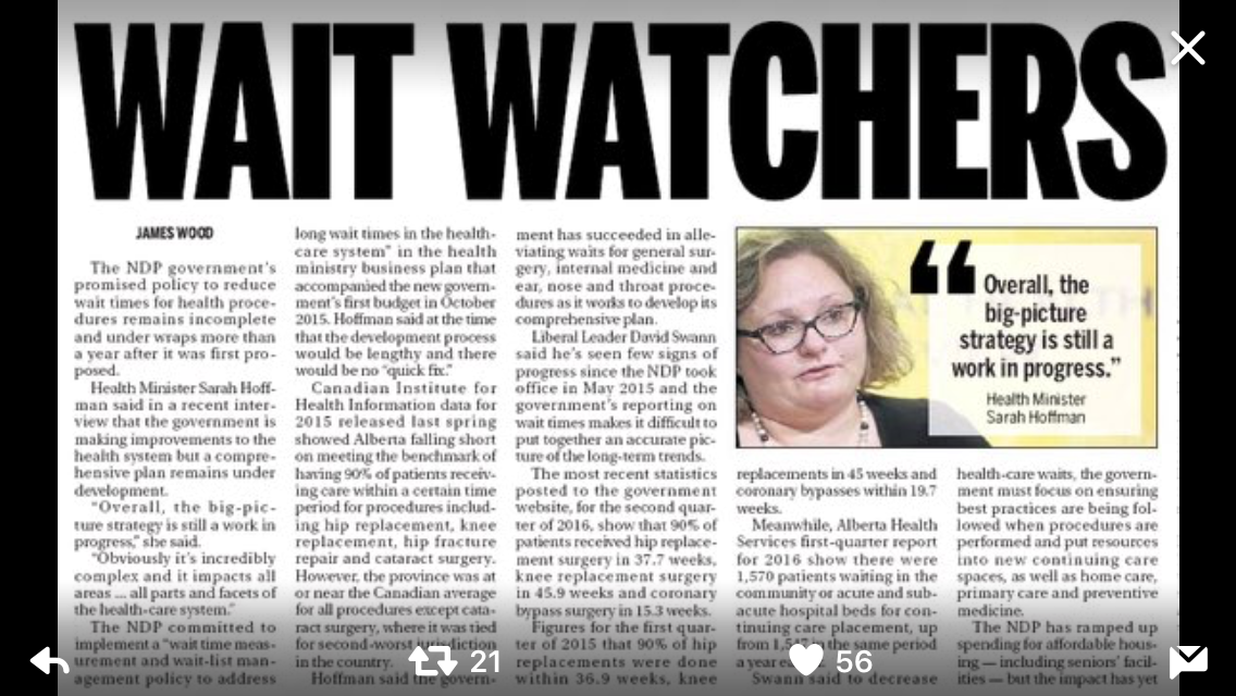 A screen grab of a Calgary Sun article is shown.