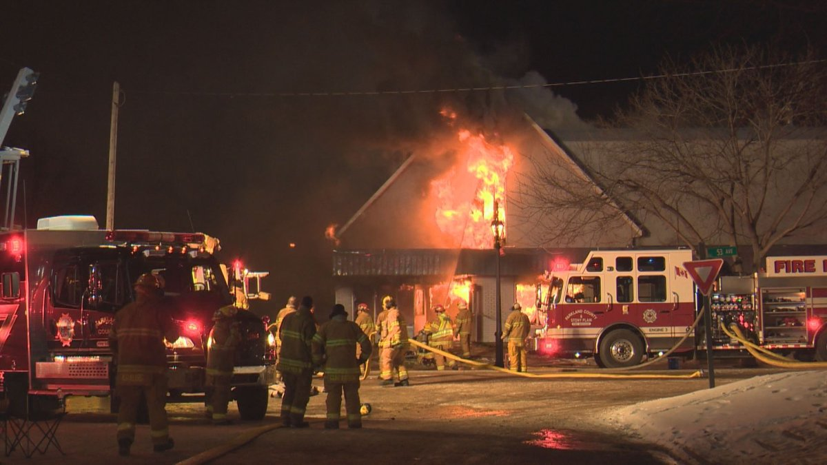 A fire at Stony Plain Alliance Church on Dec. 18, 2016.
