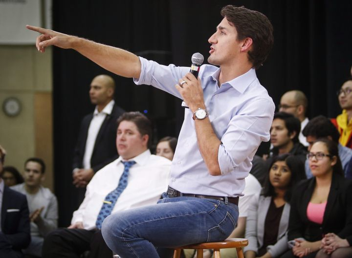 Prime Minister Justin Trudeau takes questions at a town hall meeting in Calgary, Alta., Tuesday, Jan. 24, 2017.