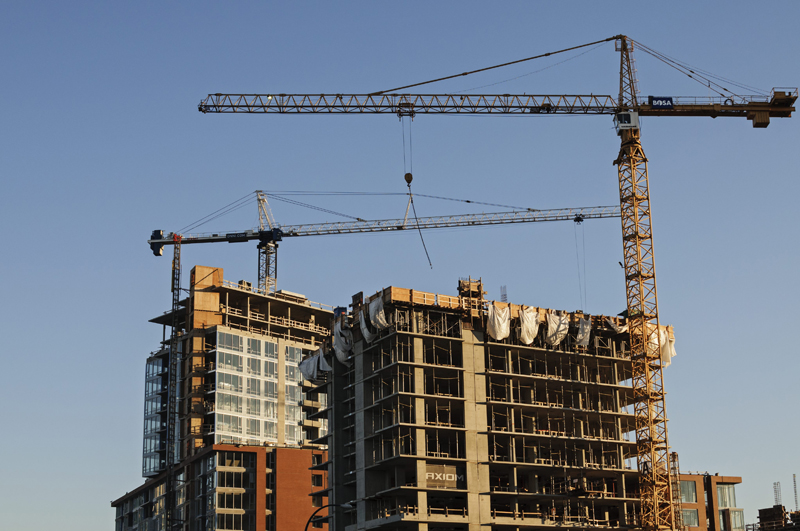 High-rise condo towers are seen under construction, Vancouver, B.C.