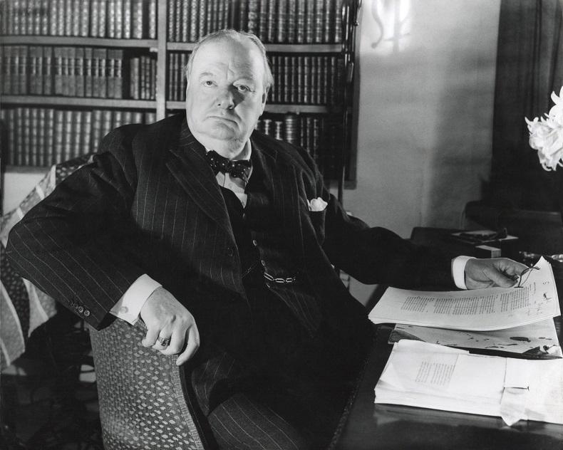Former Prime Minister Prime Winston Churchill, at his desk in Werterham, Kent. April 1948.