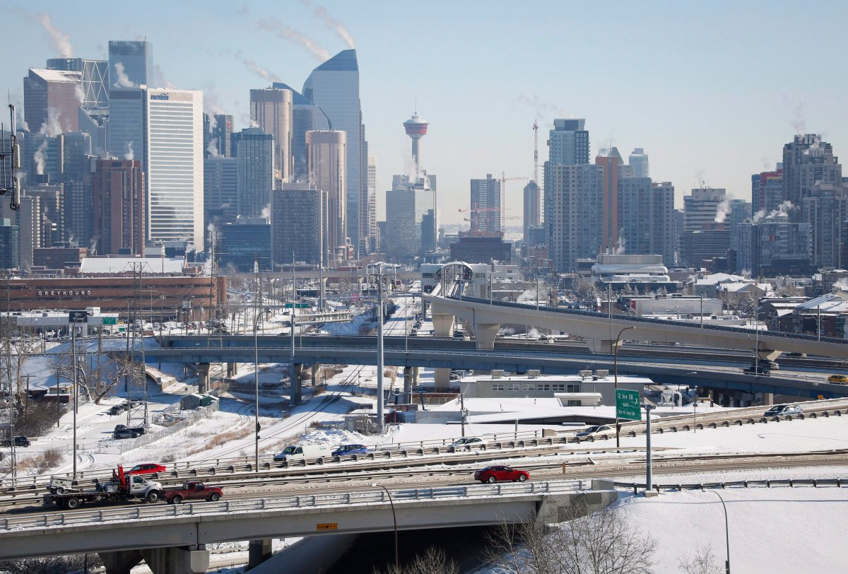Highway traffic moves through Calgary, Alta., Wednesday, Feb. 8, 2017. New census data shows the population of the metropolitan area of Calgary outpaced the national growth rate over the last five years. THE CANADIAN PRESS/Jeff McIntosh.