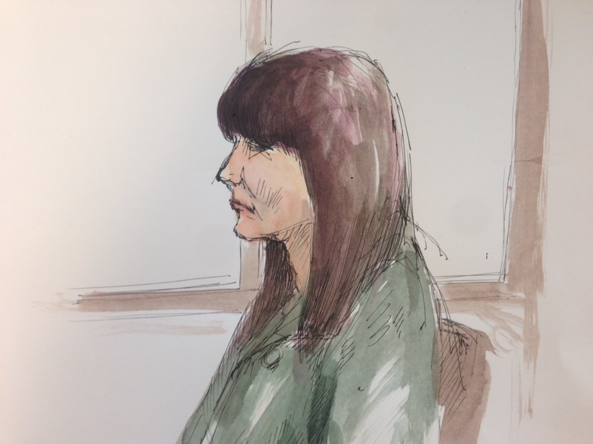 Sketch of Andrea Giesbrecht during her trial in 2016.