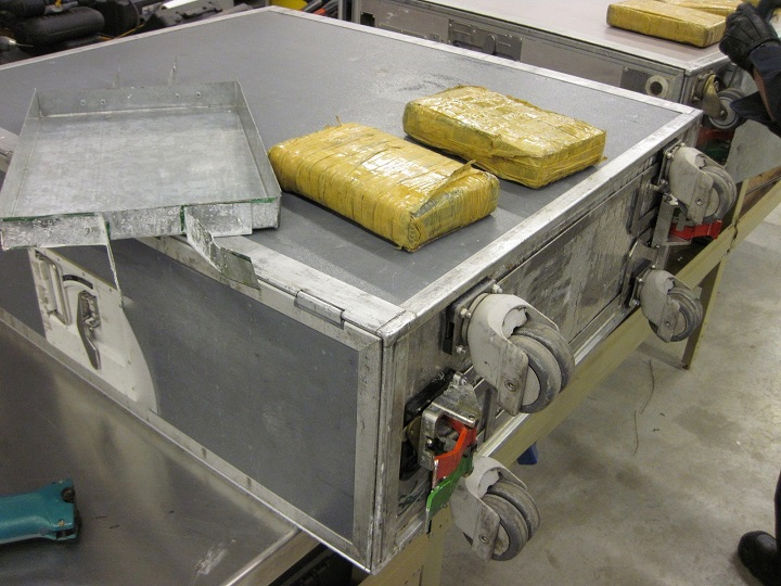 Border officials say they found seven packages of cocaine hidden under the catering carts airplane at Toronto's Pearson International Airport on Feb. 8, 2017.