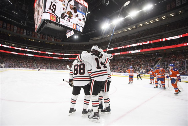 Chicago Blackhawks celebrate a goal against the Edmonton Oilers during first period NHL action in Edmonton, Alta., on Saturday February 11, 2017.