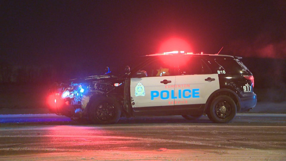 An Edmonton Police Service SUV and a tractor trailer collided on Highway 14 near the Anthony Henday Drive on-ramp early Tuesday morning. February 7, 2017.