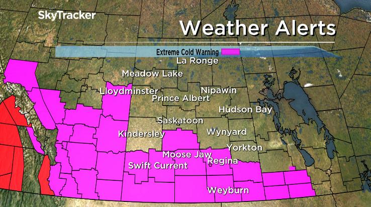 Southern Saskatchewan under extreme cold warning