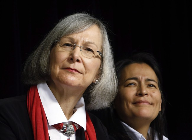Marion Buller (left), Chief Commissioner of the National Inquiry into Missing and Murdered Indigenous Women and Girls, along with her colleague, commissioner Michele Audette, hold a news conference in Ottawa on Tuesday, February 7, 2017.
