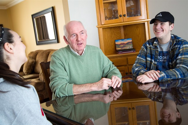 Cape Breton Regional Municipality District 9 councillor George MacDonald sits for a photo with his grandchildren, grade 12 high school student Anthony Bradbury, right, and Shayne Breen, left, at MacDonald's home in Glace Bay, N.S., Monday, February 6, 2017.