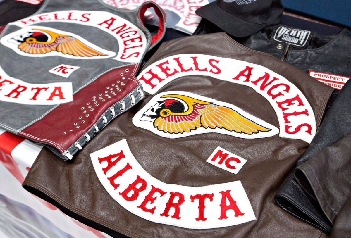 Hells Angels vests, taken during a police raid in Edmonton on April 25, 2014.