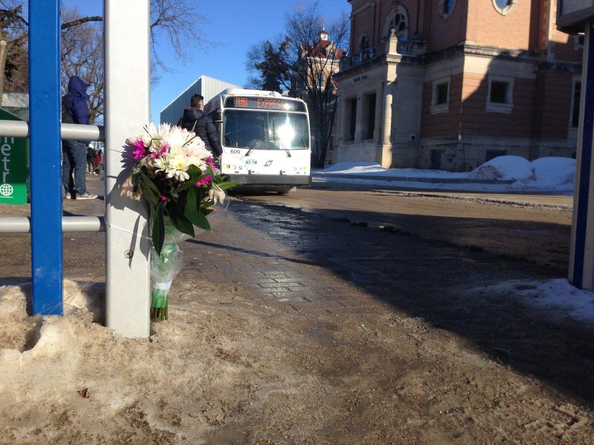 Flowers left at the scene of Irvine Fraser's murder.