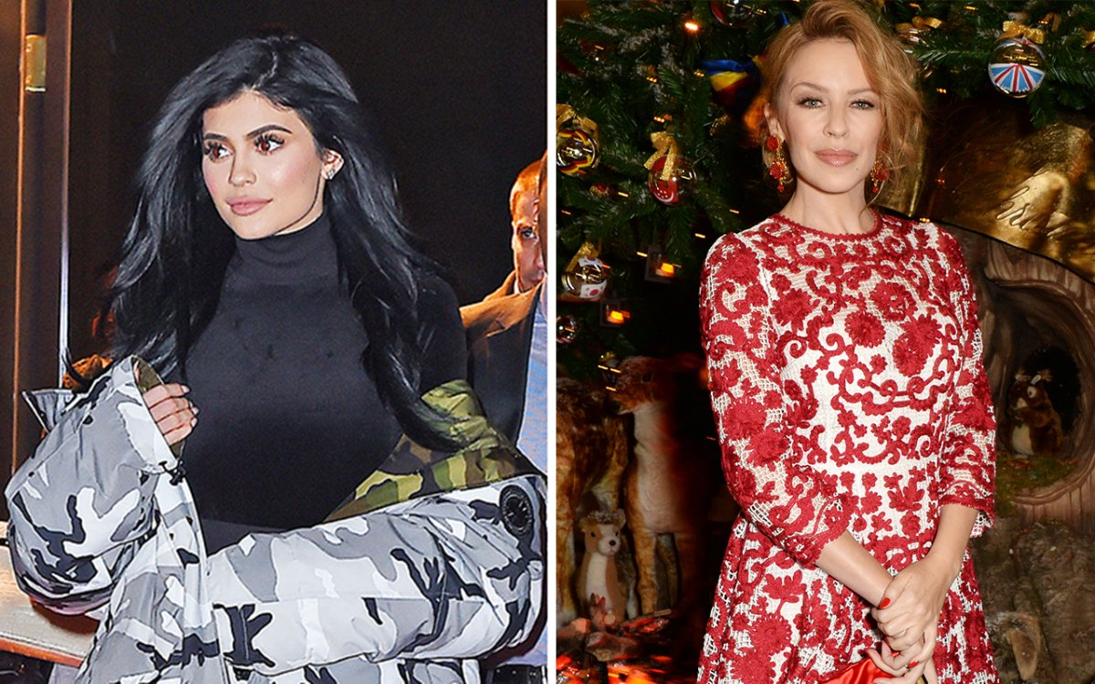 (L-R) Kylie Jenner and Kylie Minogue.