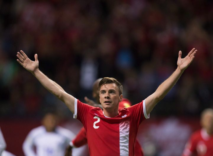 Canada's Nik Ledgerwood celebrates his goal against El Salvador during second half FIFA World Cup qualifying soccer action in Vancouver, B.C., on Tuesday September 6, 2016.