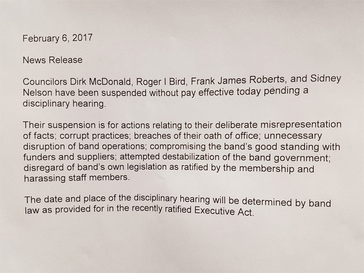 The Montreal Lake Cree Nation has suspended four band councillors without pay over corruption allegations.