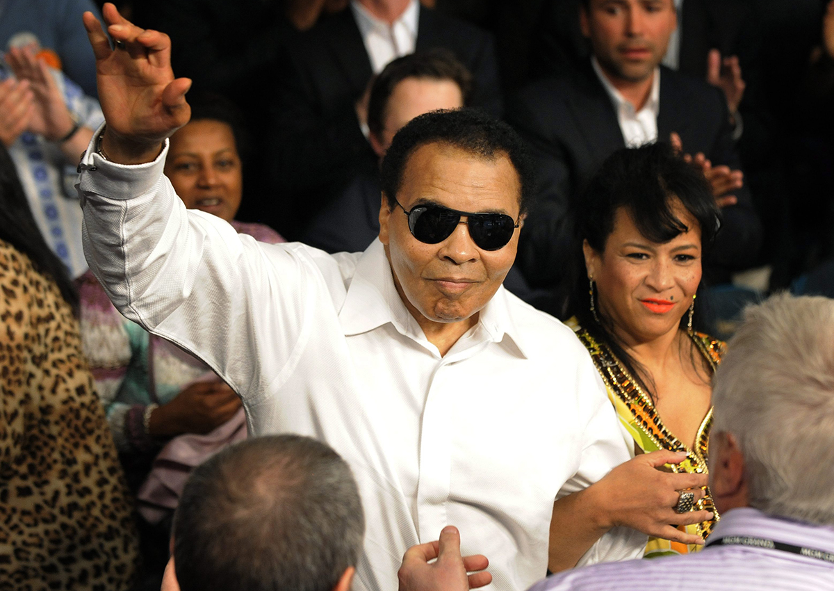 Boxing legend Muhammad Ali is seen before the Floyd Mayweather Jr., Shane Mosley  fight Saturday, May 1, 2010, in Las Vegas.