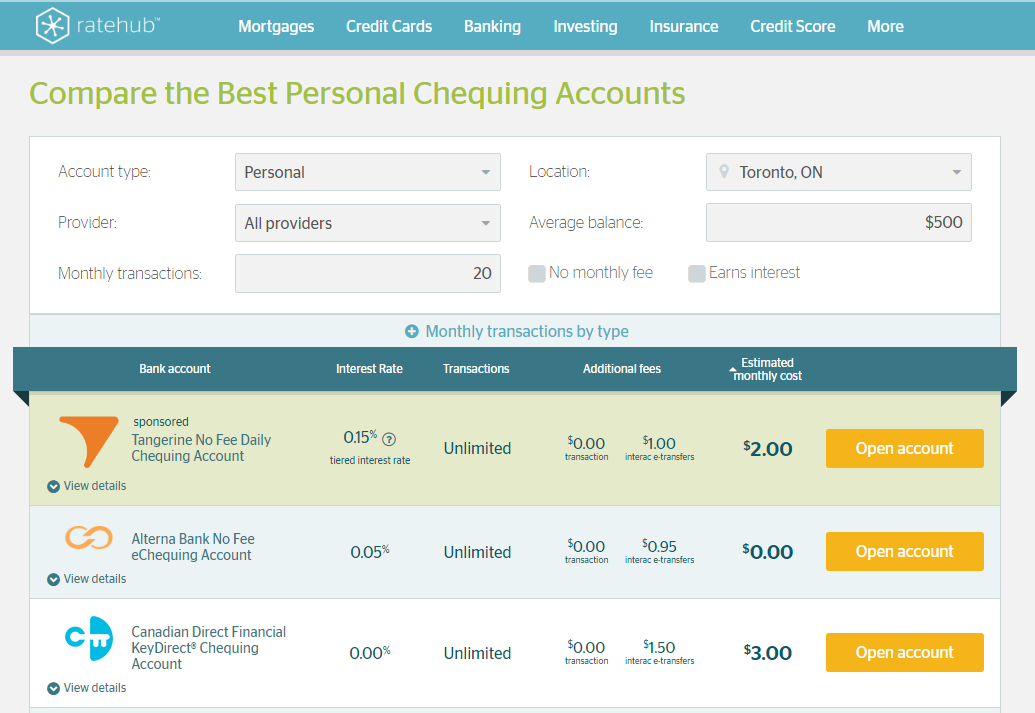 Rates-comparisons website Ratehub launched a new feature on Tuesday, Feb. 28, 2017 that allows users to compare Canadian chequing accounts ranked by monthly fees.