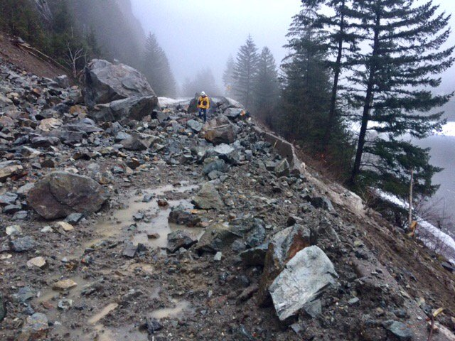 This is how much rock needs to be cleared off Highway 1 before the road can be reopened.