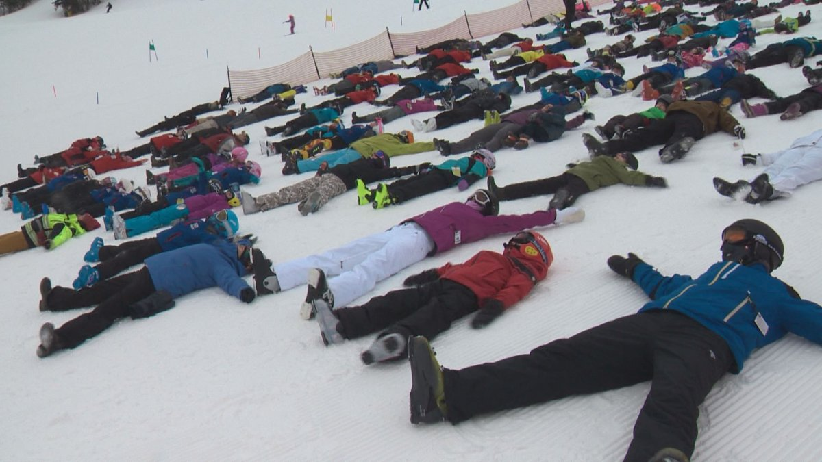Edmonton skiers and patrollers participate in a Canadian Ski Patrol event to break the Guinness record for most snow angels, Saturday, Feb. 4, 2017.