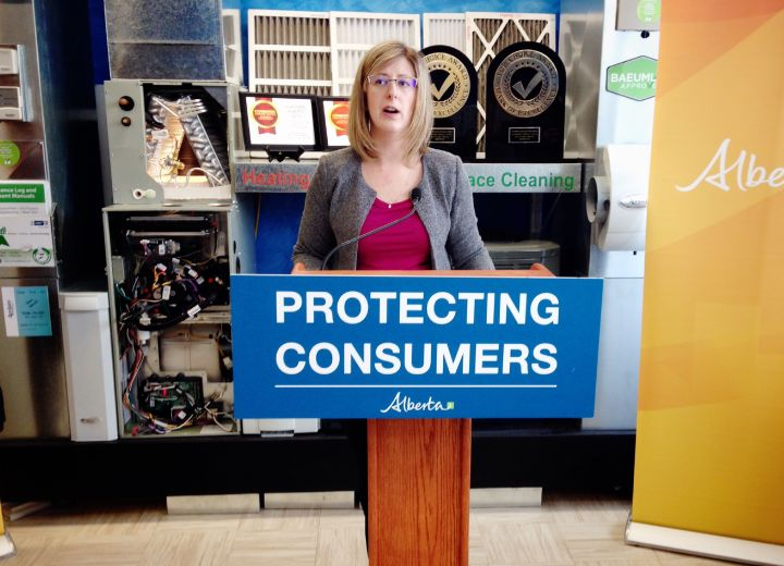 Services Minister Stephanie McLean speaks at an Edmonton HVAC operation on Feb. 21, 2017.