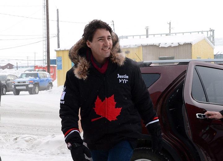 Prime Minister Justin Trudeau arrives in Iqaluit, Nunavut, on Thursday, Feb. 9, 2017.