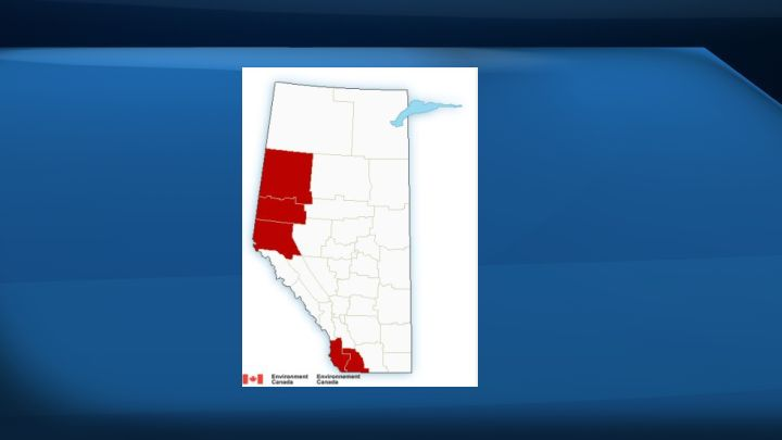 The red spots on a map of Alberta show areas where Environment Canada issued a wind warning on Feb. 12, 2017.