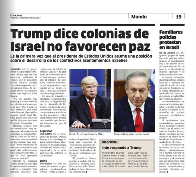 """This screen grab of the Friday, Feb. 10, 2017 digitized version of Dominican Republic's El Nacional print edition shows comedian Alec Baldwin doing his impression of President Donald Trump on """"Saturday Night Live,"""" next to a photo of Israel's Prime Minister Benjamin Netanyahu on the paper's international page with the Spanish headline: """"Trump says settlements in Israel don't favor peace."""" The Spanish caption under Baldwin's photo reads: """"Donald Trump, president of U.S."""" ."""