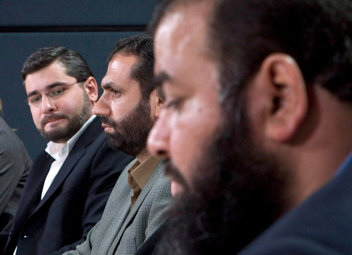 From left, Abdullah Almalki, Muayyed Nureddin and Ahmad El Maati comment on a report in Ottawa, in this Oct.21, 2008 photo.