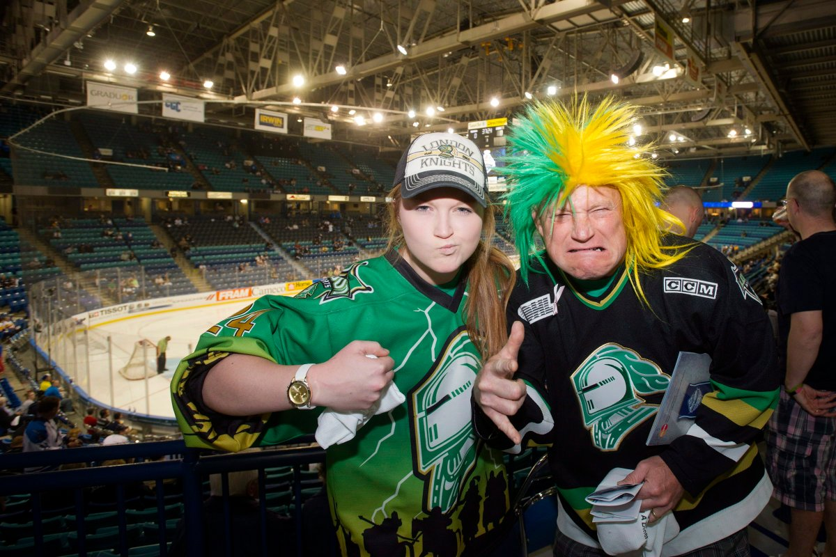 Hockey fans Maddie Turner and Scott Turner pose for a photograph before the 2013 Memorial Cup.