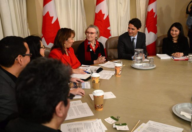 Prime Minister Justin Trudeau meets with the Native Women's Association on Parliament Hill in Ottawa on Wednesday, Jan 11, 2017.