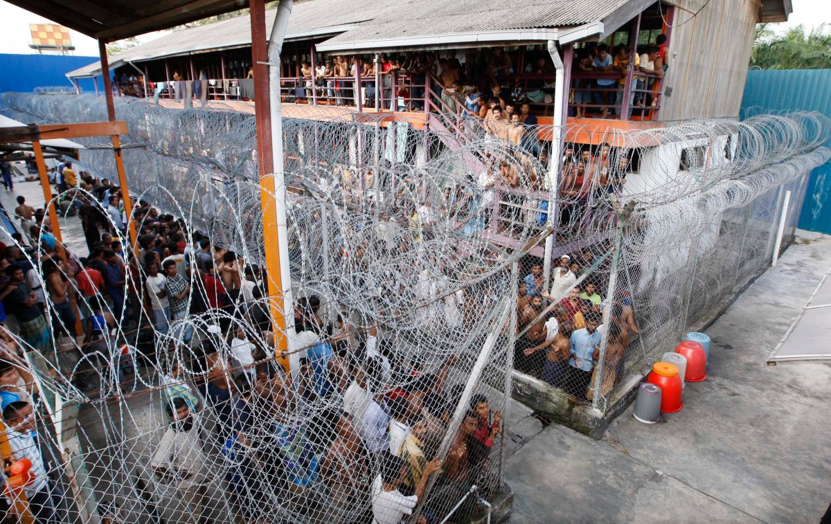In this photo taken on Thursday, July 23, 2009, shelters accommodate detainees at the Lenggeng immigration detention center, south of Kuala Lumpur, Malaysia.