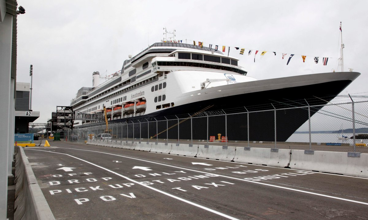 The MS Amsterdam cruise ship, operated by Holland America Line, sits docked Monday, April 26, 2010, in Seattle. The ship was in Seattle for a stop during an around-the-world voyage.