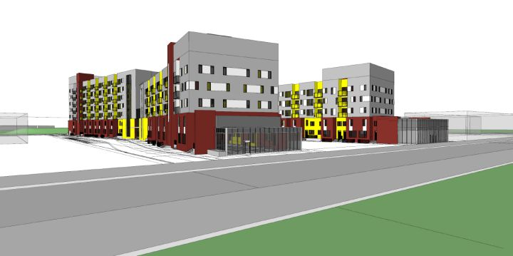 An architectural sketch of the Londonderry affordable housing redevelopment in Edmonton.