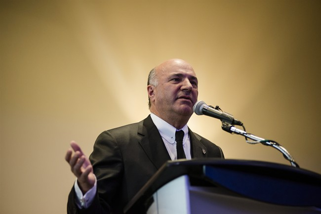 Conservative leadership candidate, Kevin O'Leary, speaks to members and supporters at a meet and greet in Burlington, Ont., on Sunday, March 5, 2017.