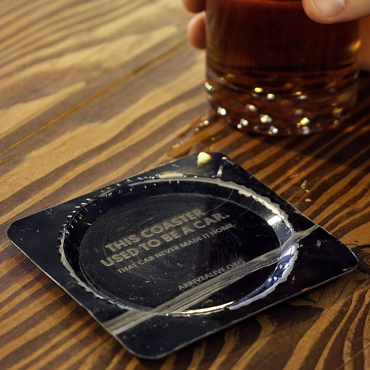 Coasters made from car wrecks are being served at Toronto's The Emmet Ray bar for St. Patrick's Day weekend.
