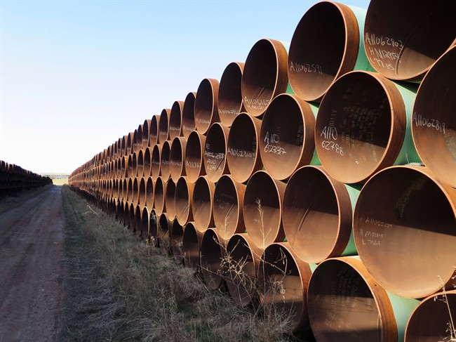 A yard in Gascoyne, ND., which has hundreds of kilometres of pipes stacked inside it that are supposed to go into the Keystone XL pipeline, should it ever be approved.