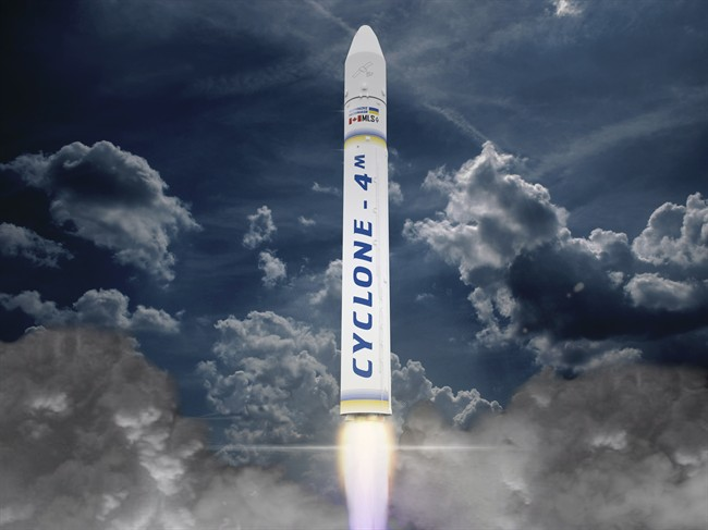 Maritime Launch Service Ltd., says it has committed to establishing a launch complex for satellite-carrying rockets in Nova Scotia. Once completed, the site would be used to launch the Ukrainian-built Cyclone 4M rocket, shown in this artist's rendering. T.