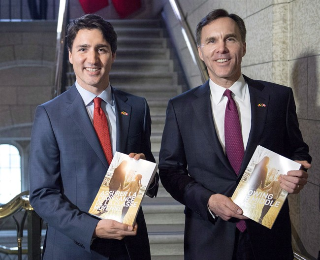 Prime Minister Justin Trudeau (left) walks with Minister of Finance Bill Morneau as he arrives to table the budget on Parliament Hill, Tuesday, March 22, 2016 in Ottawa.