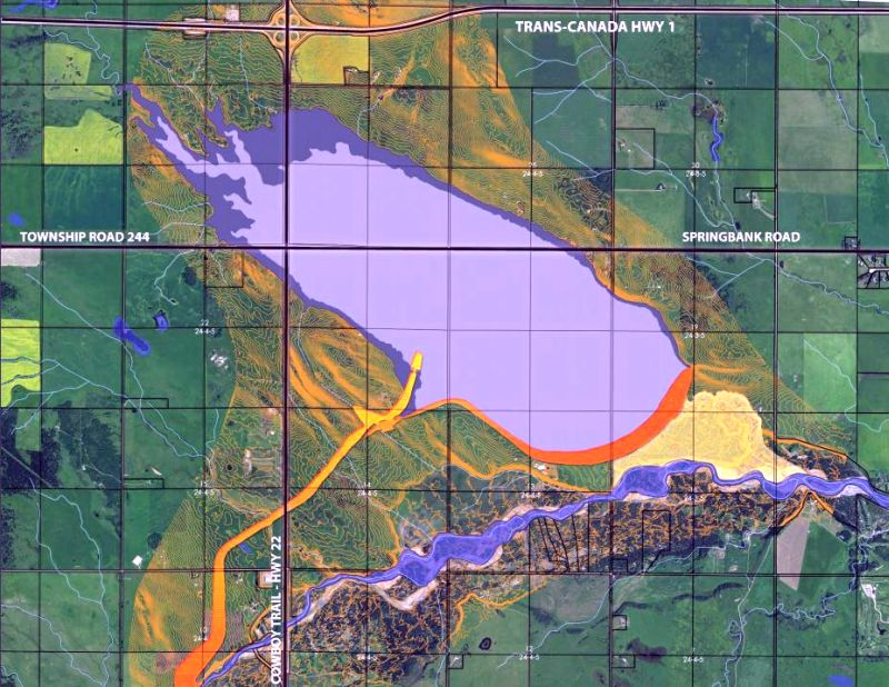 The Springbank Off-stream Reservoir will be approximately 15 kilometres west of Calgary near Springbank Road, north of the Elbow River and predominantly east of Highway 22.